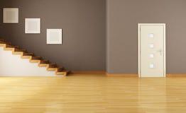 Leerer Innenraum mit Tür und Treppenhaus stock abbildung