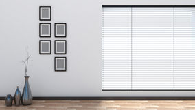 Leerer Innenraum mit Vorhängen Stockbild