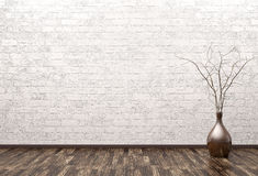 Leerer Innenraum mit Wiedergabe des Vase 3d Lizenzfreies Stockfoto