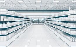 Leerer Innensupermarkt mit Schaukastengefrierschrank stockfotografie
