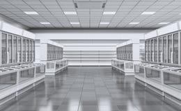 Leerer Innensupermarkt mit Schaukastengefrierschrank lizenzfreie stockfotografie
