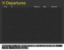 Leerer internationaler Flughafen-Abflug-Vorstand Lizenzfreie Stockfotos