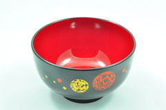 Leerer japanischer roter Dot Black Bowl Stockfotos