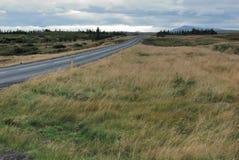 Leerer Kiesweg in Island Stockfotografie