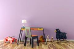 Leerer Kinderraum mit Spielwaren, Arbeitsschreibtisch und Stuhl lizenzfreie abbildung