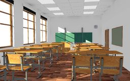 Leerer Klassenzimmerinnenraum (Morgen) Stockfoto