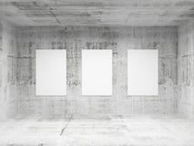 Leerer konkreter Innenraum der Galerie der abstrakten Kunst Lizenzfreies Stockbild