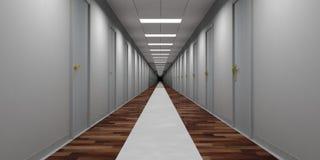 Leerer Korridor des Hotels mit grauen Türen und hölzernem und Marmorboden Abbildung 3D Lizenzfreie Stockfotografie