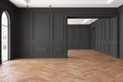 Leerer moderner klassischer schwarzer Innenraum Vektor Abbildung