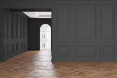 Leerer moderner klassischer schwarzer Innenraum Stock Abbildung