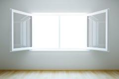 Leerer neuer Raum mit geöffnetem Fenster Stockfoto
