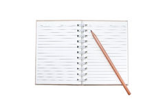 Leerer Notizblock lokalisiert mit Bleistift Stockbilder