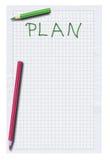 Leerer Plan und zwei Bleistifte lizenzfreie abbildung