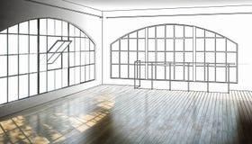 Leerer postindustrieller Bereich - Sichtbarmachung 3d lizenzfreie abbildung