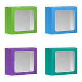 Leerer Produkt-Paket-Kasten mit Fenster. Satz. Vektor, lokalisiert Stockfotos