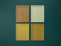 Leerer Rahmen auf grüner und orange Tonfarbe der Innenwand Stockfotografie