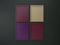 Leerer Rahmen auf grüner und purpurroter Tonfarbe der Innenwand Stockbilder