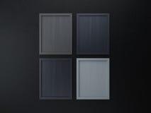 Leerer Rahmen auf grauer Tonfarbe der Innenwand Stockbild