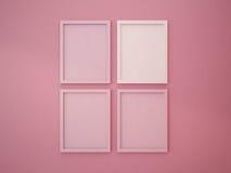Leerer Rahmen auf Innenwand-Rosa-Tonfarbe Lizenzfreies Stockbild