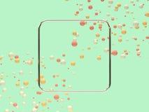 Leerer Rahmen der geometrischen Form, der rosa weiße gelbe Ball-/Bereichlevitation 3d überträgt abstrakten Hintergrund viel ist stock abbildung