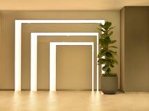 Leerer Raum mit Baumtopf und Lichtern, Innenarchitektur stockbild