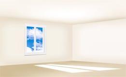 Leerer Raum mit beige Wänden, einem Fenster und einem blauen Himmel Stockfotografie