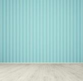 Leerer Raum mit blauer Tapete Stockfotografie