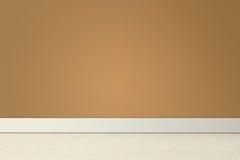 Leerer Raum mit brauner Wand und Linoleum Stockfotografie
