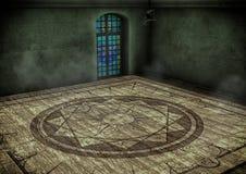 Leerer Raum mit einem magischen Kreis Stockbilder