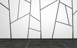 Leerer Raum mit geometrischem Muster auf Wand Lizenzfreie Stockbilder