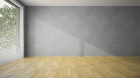 Leerer Raum mit grauen Wänden und Parkett