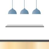 Leerer Raum mit Lampen und Regalen Lizenzfreie Stockbilder
