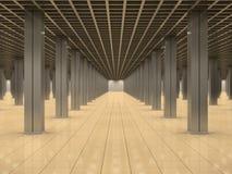 Leerer Raum mit Metalspalten und mit Ziegeln gedecktem Fußboden Lizenzfreies Stockbild