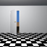 Leerer Raum mit offener Tür Stockfotos
