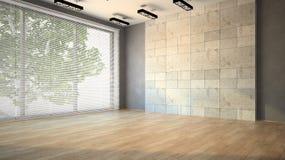 Leerer Raum mit Vorhängen Stockfotos