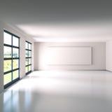 Leerer Raum mit weißem Leinen Stockbild