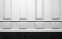 Leerer Raum mit weißer Wand und dunklem Holzfußboden stockbild
