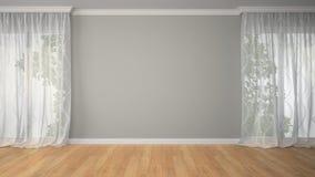 Leerer Raum mit zwei Vorhängen Stockfotografie