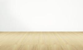Leerer Raum und Bretterboden mit weißer Wand stockfoto