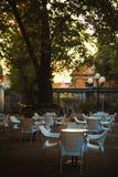 Leerer Restaurantgarten Lizenzfreie Stockfotografie