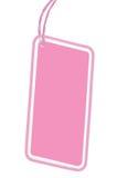 Leerer rosa lokalisierter Makronahaufnahme-vertikaler Kopien-Raum Pappverkaufs-Tag-leerer Preisschild Pricetag Ausweis Lizenzfreies Stockfoto