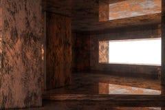 Leerer rostiger Raum mit dem Licht, das vom Fenster, Wiedergabe 3d hereinkommt stock abbildung
