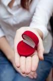 Leerer roter Kasten für Verlobungsring Lizenzfreie Stockfotografie