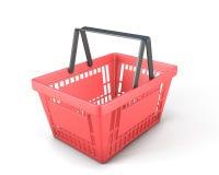 Leerer roter Plastikeinkaufskorbbeschneidungspfad Stockfotografie