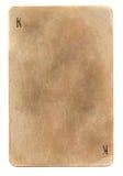 Leerer schmutziger alter spielender Königkarten-Papierhintergrund Lizenzfreies Stockbild
