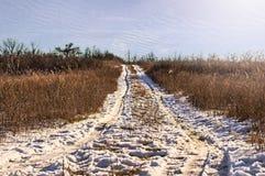 Leerer Schnee bedeckte Straße Stockfoto