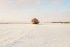 Leerer Schnee bedeckte Straße in der Winterlandschaft Stockbild