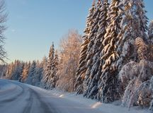 Leerer Schnee deckte Straße in der Winterlandschaft ab stockfotos