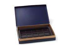 Leerer Schokoladen-Kasten Stockfoto