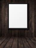 Leerer schwarzer Bilderrahmen auf der Schmutzholzbeschaffenheit Lizenzfreies Stockfoto